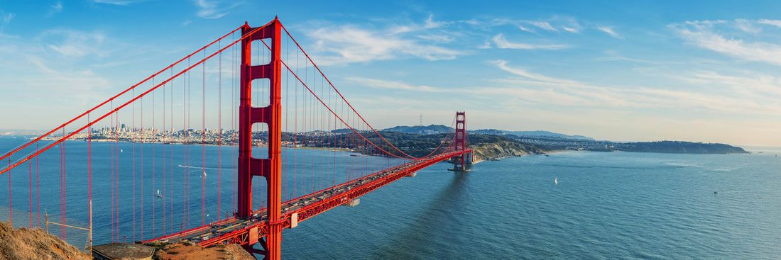 The Golden Gate Bridge in San Francisco Bay on a sunny day.
